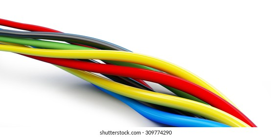 wires color 3d Illustrations on a white background