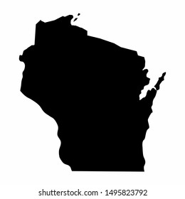 Wisconsin dark silhouette map isolated on white background