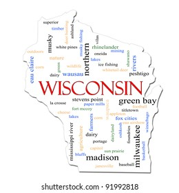 A Wisconsin map word cloud with great terms such as Green Bay, football, Milwaukee, Madison, baseball, musky, cheese and more.