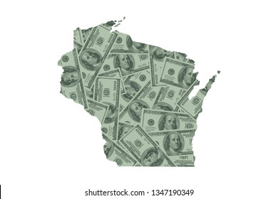 Wisconsin State Map and Money Concept, Hundred Dollar Bills