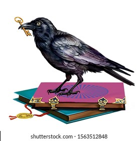 wise black raven with a key in his beak sitting on ancient tomes, isolated character on a white background