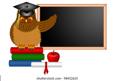 Wise Horned Owl Professor Sitting on Books with Chalkboard Apple Diploma and Books in Classroom Illustration