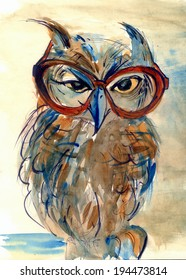 Wise Owl with big eyes in glasses animal watercolor painting poster colored print textile pattern wallpaper background artwork hand drawn illustration