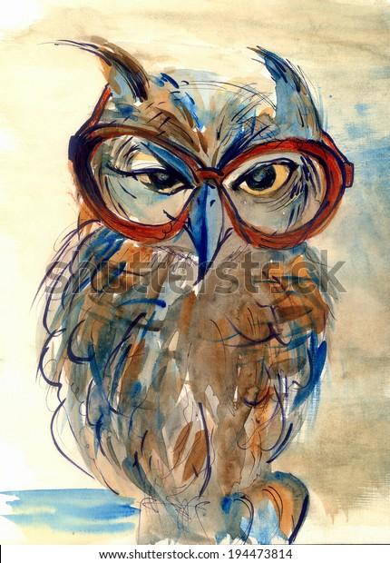 Wise Owl Big Eyes Glasses Animal Stock Illustration 194473814