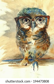 Wise Owl with big eyes in hipster glasses animal watercolor painting poster colored print textile pattern wallpaper background artwork hand drawn illustration