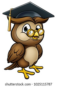 A wise owl cartoon character wearing a graduate cap mortar board