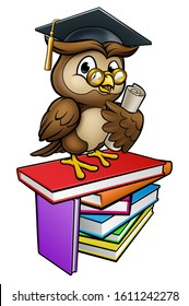 A wise owl cartoon character wearing a graduate cap mortar board and holding a diploma scroll on a stack of books