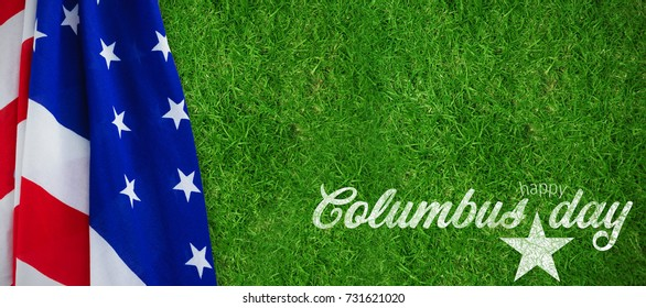 Wish for colombus day  against closed up view of grass