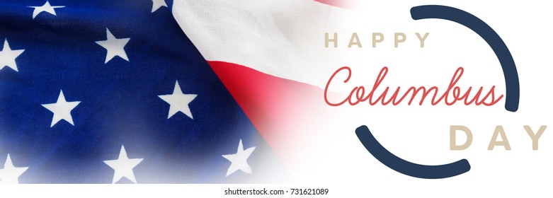 Wish for colombus day  against full frame of wrinkled american flag