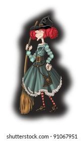 Фотообои witch with a broom