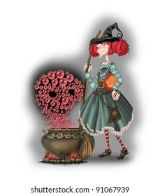 Witch with a broom witchcraft