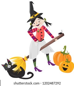 Witch with Cat Holding onto Broom Illustration