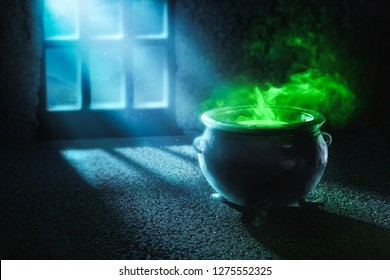 Witch cauldron with boiling potion at night / high contrast image, 3D illustration