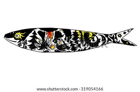 witch coven sunset color illustration sardine stock illustration