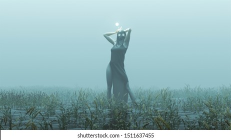 Witch Demon Woman with White Eyes and Glowing Orb in Futuristic Haute Couture Dress Abstract Demon Foggy Watery Void with Reeds and Grass background Side View 3d Illustration 3d render