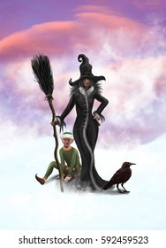 A witch, Elf and a raven on a winter background