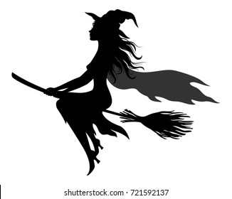 Witch Flying on Broom, Picture for Holiday Halloween, Black Silhouettes Isolated on White Background.