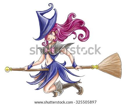 Witch Girl Cartoon Draw Paint Illustration Stock Illustration