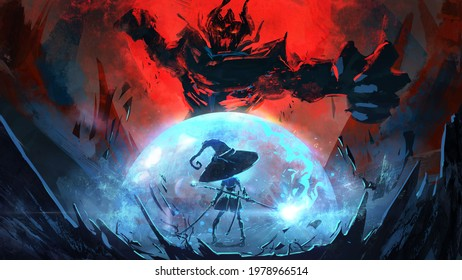 A witch girl in a huge hat surrounds herself with a magical barrier to repel the attack of a huge demon lord, who is preparing to deliver a crushing blow, against the background of a red sky. 2d