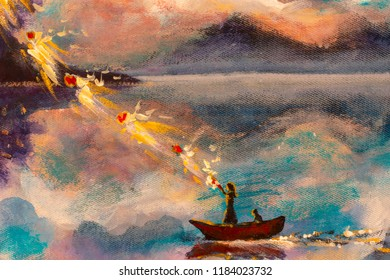 Witch girl woman with a cat in a boat on the river sea water against the background of mountains with beautiful clouds, a magical ritual of love in a wonderland. Painting. Fantastic illustration