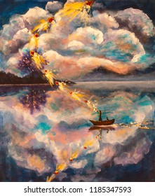 Witch girl woman with a cat in a boat on the river sea water against the background of mountains with beautiful clouds, a magical ritual of love in a wonderland. Painting with acrylic on canvas.
