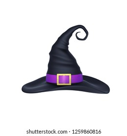 Witch hat with purple ribbon isolated on white. 3D rendering with clipping path