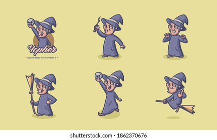 Witch with hat vintage character