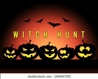 Witch Hunt Pumpkins Meaning Harassment or Bullying To Threaten Or Persecute 3d Illustration. Deep State Trying To Harass The President