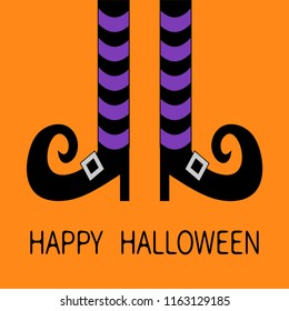 Witch legs with violet striped socks and shoes buckle. Happy Halloween. Cute cartoon character body part. Greeting card. Flat design. Orange baby background.