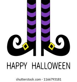 Witch legs with violet striped socks and shoes golden buckle. Happy Halloween. Cute cartoon character body part. Greeting card. Flat design. White baby background. Isolated.