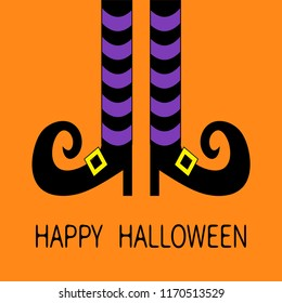 Witch legs with violet striped socks and shoes golden buckle. Happy Halloween. Cute cartoon character body part. Greeting card. Flat design. Orange baby background.
