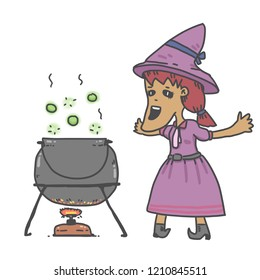 a witch making a potion for Halloween