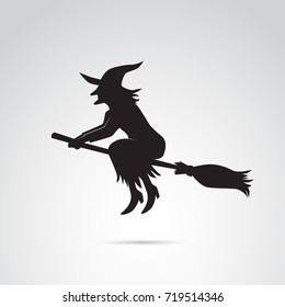 Witch on broom icon isolated on white background.