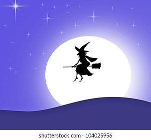 witch silhouette on a broom over moon