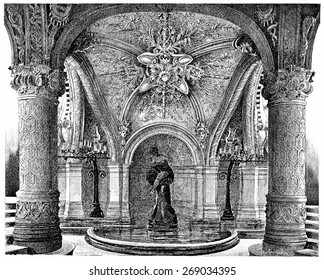 The Witch, under the grand staircase, vintage engraved illustration. Paris - Auguste VITU  1890.