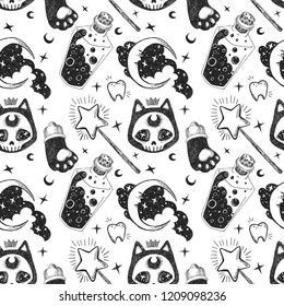 Witchcraft seamless pattern isolated on white background. Halloween set of kitten, cat hand, magic wand, teeth, potion, poison, stars, moon in the cloud.