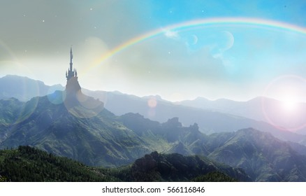 witches tower with rainbow in mountains of oz