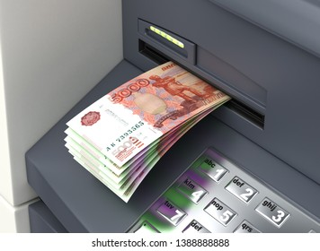 Withdrawal Russian Ruble From The ATM 3D rendering