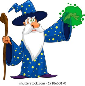 Wizard Cartoon Character With A Cane Making Magic. Raster Illustration Isolated On Transparent Background