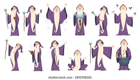 Wizard. Mysterious male magician in robe spelling oldster merlin cartoon characters