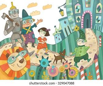 The wizard of Oz. Children's book illustration Children's book illustration