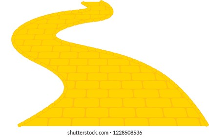 the wizard of oz yellow brick road fairytale illustration
