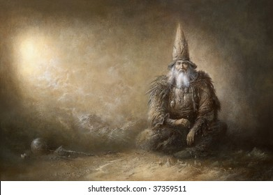 The wizard, painted with tempera on paper.