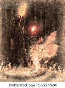 Wizard spell witchcraft with evil spirit in the ritual room. Digital paint. Watercolor style.