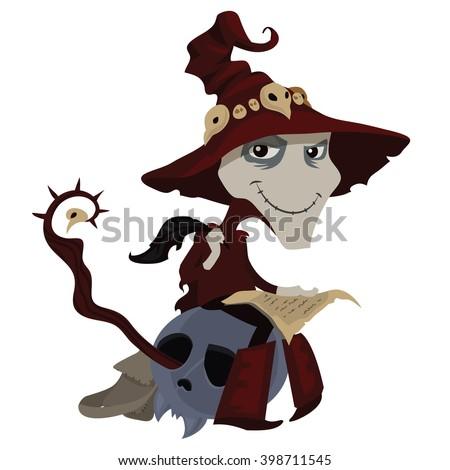 Wizard Writing Letter Sitting On Skull Stock Illustration 398711545