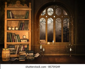 Wizard's library with books and candles