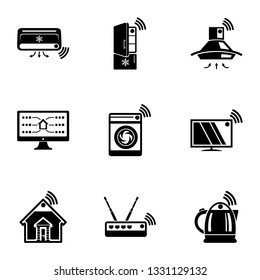 Wlan icons set. Simple set of 9 wlan icons for web isolated on white background