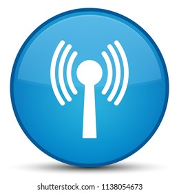 Wlan network icon isolated on special cyan blue round button abstract illustration