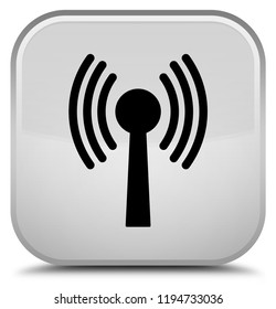 Wlan network icon isolated on special white square button abstract illustration