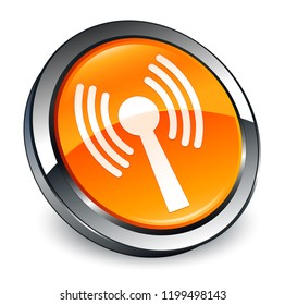 Wlan network icon isolated on 3d orange round button abstract illustration